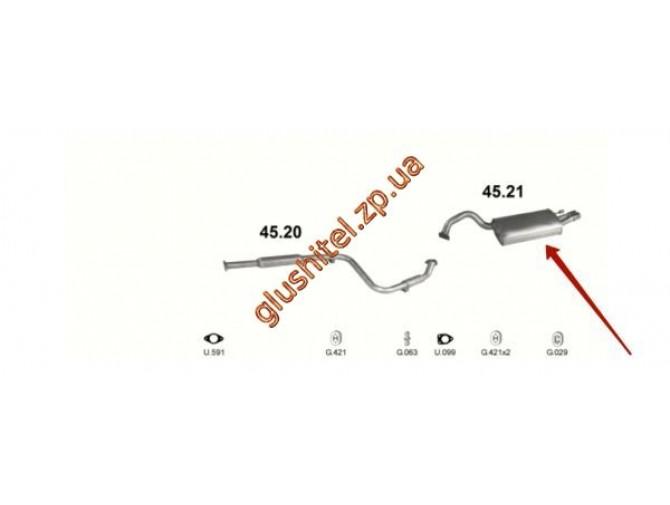 Глушитель Крайслер Себринг (Chrysler Sebring) 2.5   95-00 (45.21) Polmostrow алюминизированный