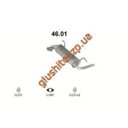 Глушитель Субару Джасти I 1.0/1.2 (Subaru Justy I 1.0/1.2) (46.01) 84-95 Polmostrow алюминизированный
