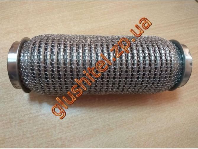 Гофра глушителя 50Х200 усиленная Interlock кольчуга (3 слоя, короткий фланец / нерж.сталь) Walline