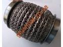 Гофра глушителя усиленная 55Х100 Interlock кольчуга (3 слоя, короткий фланец / нерж.сталь) Walline