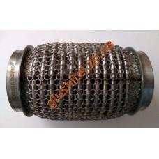 Гофра глушителя 55Х120 усиленная Interlock кольчуга (3 слоя, короткий фланец / нерж.сталь) Walline