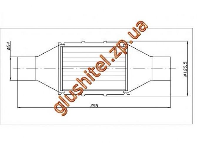 Катализатор универсальный круглый 120.0534 / 50 Diesel E3 (объем до 2л, диаметр входа 54мм, длинна 355мм, диаметр 120мм)