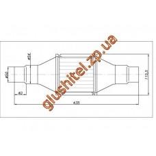 Катализатор универсальный круглый 120.2071 В 2000 Е4 (объем 1,4-2,0 л, диаметр входа 50мм или 55мм, длинна 435мм, диаметр 115мм)
