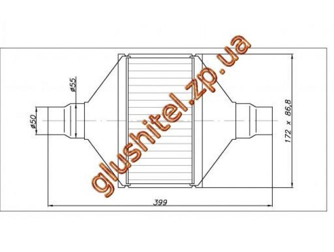 Катализатор универсальный плоский 120.2092 ВP 2000 E3 (объем 1,4-2,0 л, диаметр входа 55мм, длинна 399мм, ширина 172мм, высота 88мм)
