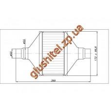 Катализатор универсальный плоский 120.2092 ВP 2000 E4 (объем 1,4-2,0 л, диаметр входа 55мм, длинна 399мм, ширина 172мм, высота 88мм)