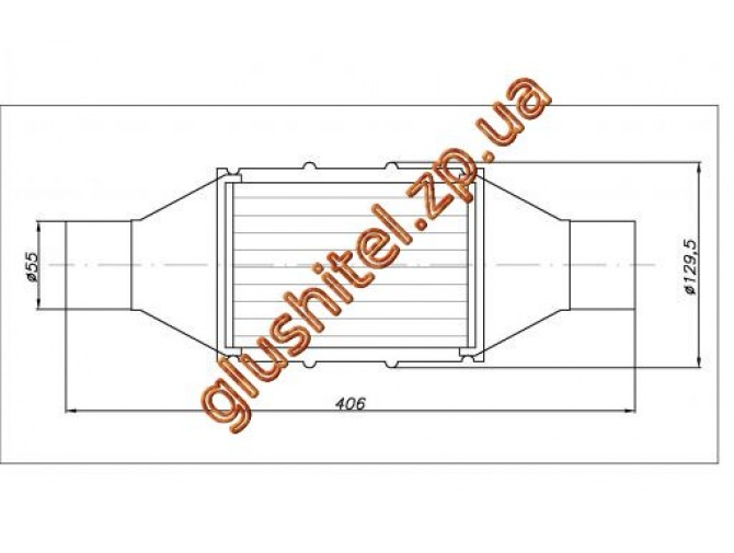 Катализатор универсальный круглый 120.2128 В 2800 E4 (объем 2,0-2,8 л, диаметр входа 55мм, длинна 406мм, диаметр 128мм)