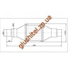 Катализатор универсальный круглый 120.2068 В 1400 Е4 (объем до 1,4л, диаметр входа 50мм или 55мм, длинна 395мм, диаметр 115мм)