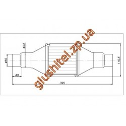 Катализатор универсальный круглый 120.2068 В 1400 Е3 (объем до 1,4л, диаметр входа 50мм или 55мм, длинна 395мм, диаметр 115мм)
