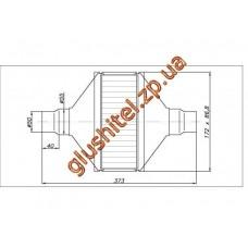 Катализатор универсальный плоский 120.2091 ВP 1400 E3 (объем до 1,4 л, диаметр входа 50мм или 55мм, длинна 373мм, ширина 172мм, высота 88мм)