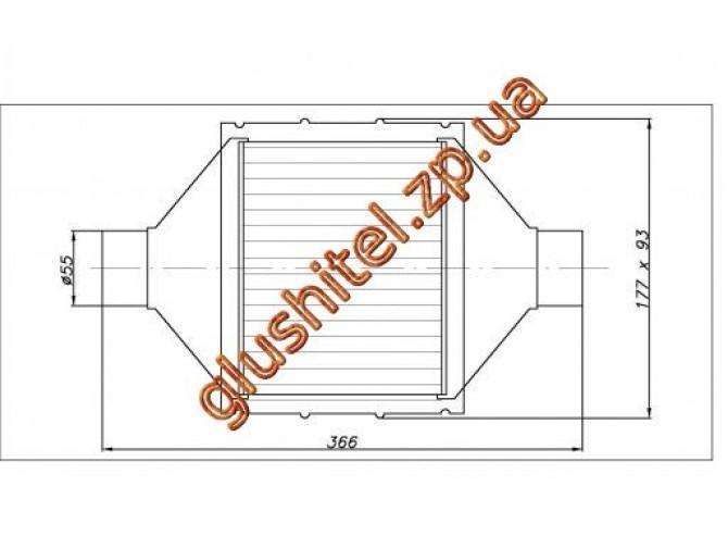 Катализатор универсальный плоский 120.2132 ВP 2800 E4 (объем 2,0-2,8 л, диаметр входа 55мм, длинна 366мм, ширина 177мм, высота 93мм)