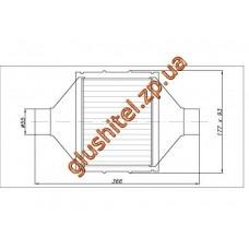 Катализатор универсальный плоский 120.2132 ВP 2800 E3 (объем 2,0-2,8 л, диаметр входа 55мм, длинна 366мм, ширина 177мм, высота 93мм)