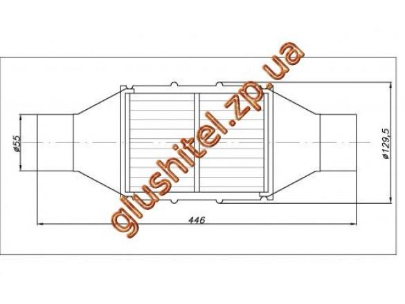 Катализатор универсальный круглый 120.2134 В 3600 E4 (объем 2,8-3,6 л, диаметр входа 55мм, длинна 446мм, диаметр 128мм)