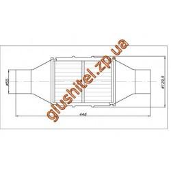 Катализатор универсальный круглый 120.2134 В 3600 E3 (объем 2,8-3,6 л, диаметр входа 55мм, длинна 446мм, диаметр 128мм)