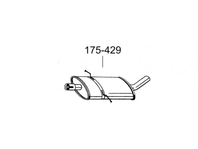 Глушник Мерседес А160 (Mercedes A160)/Мерседес В169 (Mercedes W169) 2.0 D 04-12 (175-429) Bosal 13.23 алюмінізірованний