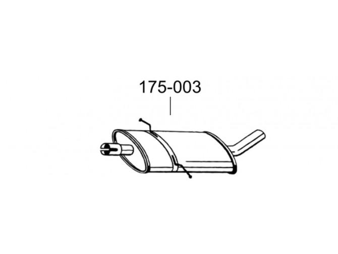 Резонатор Мерседес Б180-В245 (Mercedes B180-W245) 05- (175-003) Bosal алюминизированный