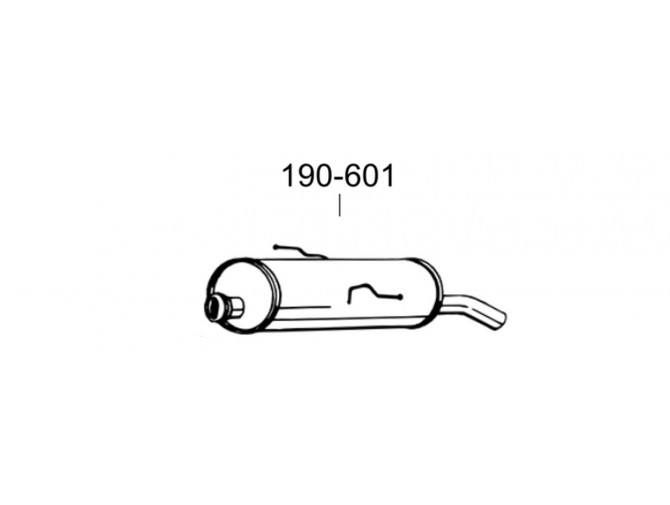 Глушитель Пежо 206 (Peugeot 206) 1.4/1.6 98- (190-603) Bosal 19.198 алюминизированный