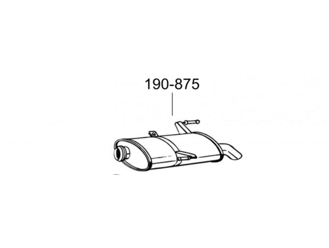 Глушитель Пежо 206 (Peugeot 206) 1.1i; 1.4i; 1.4HDiTD;1.6i kombi 01 -12/03 (190-875) Bosal 19.403 алюминизированный