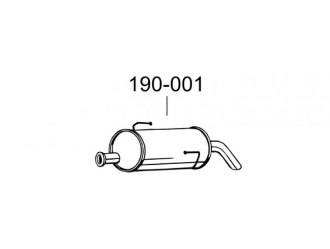 Глушитель Пежо 206 (Peugeot 206) 05- (190-001) Bosal алюминизированный