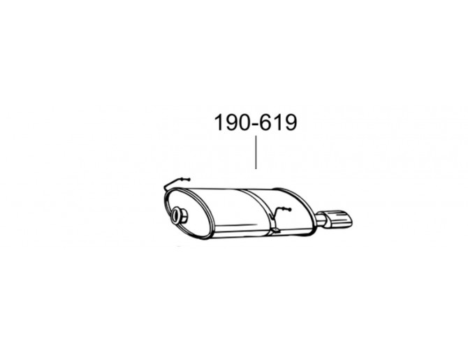 Труба средняя Пежо 206 (Peugeot 206) 2.0 HDi 99 - 06 (889-535) Bosal 19.510 алюминизированный
