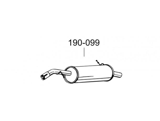Глушитель Пежо 207 (Peugeot 207) 08- (190-099) Bosal алюминизированный