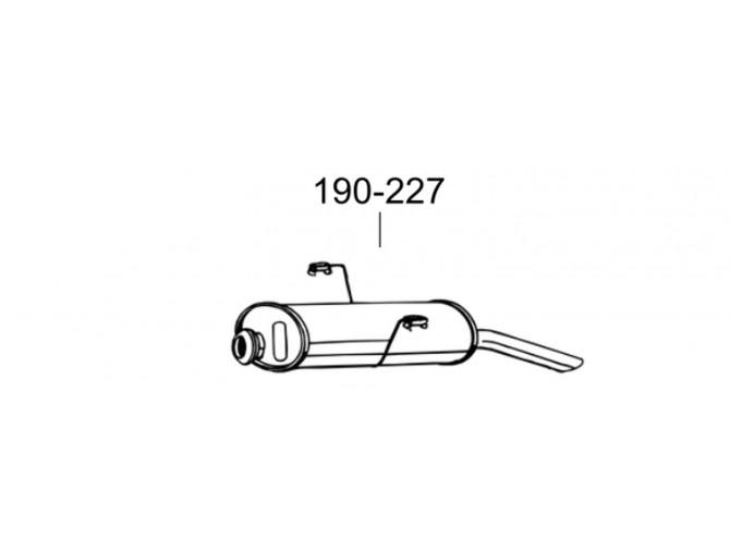 Глушитель Пежо 306 (Peugeot 306) 1.4-1.8 SDN kat 94- (190-227) Bosal 19.61 алюминизированный