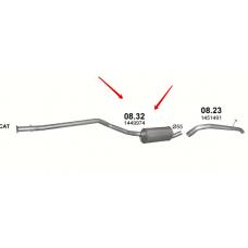 Резонатор Форд Транзит Коннект (Ford Transit Connect) 1.8 TDCi (08.32) Polmostrow алюминизированный