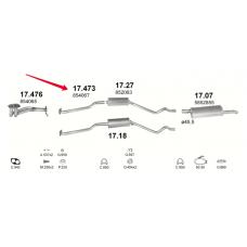 Трубка средняя Опель Кадет (Opel Kadett) 84-91 1.3N/S (17.473) Polmostrow алюминизированный