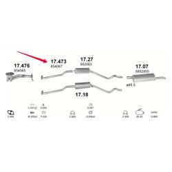 Труба средняя Опель Кадет (Opel Kadett) 84-91 1.3N/S (17.473) Polmostrow алюминизированный