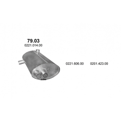 Глушитель NEOPLAN JetLiner H216, N216; OM402A, OM402LA / CitiLiner N116 OM402A, OM402LA (79.03) Polmostrow алюминизированный