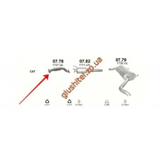 Приемная труба (штаны) Фиат Дукато (Fiat Ducato) / Ситроен Джампер (Citroen Jumper) / Пежо Боксер (Peugeot Boxer) 2.2 HDi 06-11 (07.78) Polmostrow алюминизированный