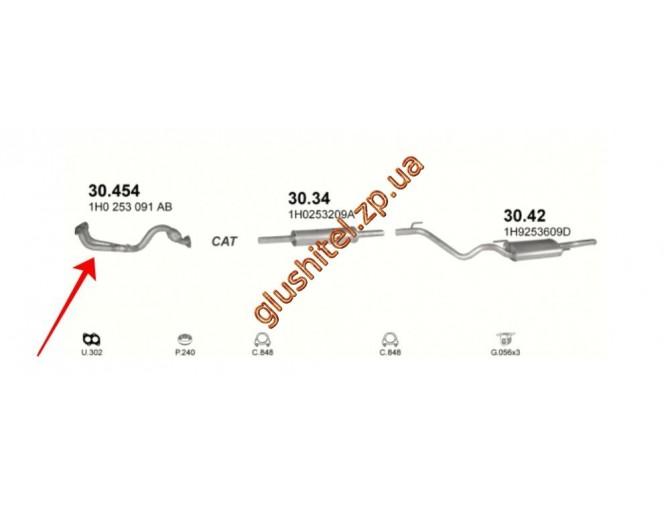 Приемная труба (штаны) Фольксваген Гольф III (Volkswagen Golf III) 1.6i 94-97; 1.6i Вариант (Variant) 94-95 / Фольксваген Венто (Volkswagen Vento)1.6i 94-98 (30.454) Polmostrow алюминизированный