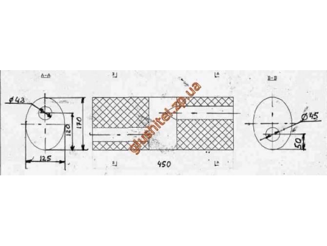 Бочка глушителя универсальная ( 170x125x450 ; d= 43, d= 45 )