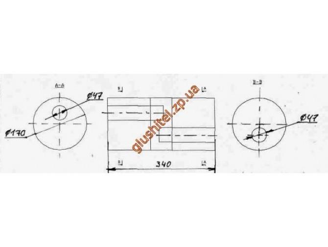 Бочка глушителя универсальная ( d= 170 L=340 ; d= 47 )