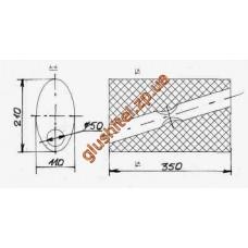 Бочка глушителя универсальная смещенный выход (210x110x350 ; d= 50)