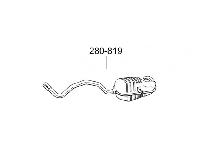 Глушитель Рено Сценик 2/Мегана 2 (Renault Scenic II/Megane II) 1.5D/1.9D/2.0 02- (280-819) Bosal 21.50 алюминизированный