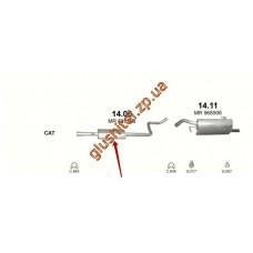 Резонатор Митсубиси Кольт/Смарт Форфоур (Mitsubishi Colt/SMART FORFOUR) (14.06) 88-92 1.1/1.3/1.4 04- Polmostrow алюминизированный