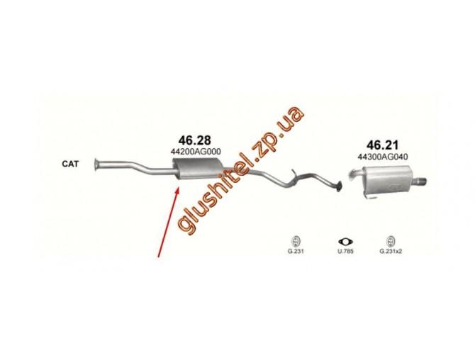 Резонатор Субару Легаси 2.0 03 (Subaru Legacy 2.0 03) (46.28) Polmostrow алюминизированный