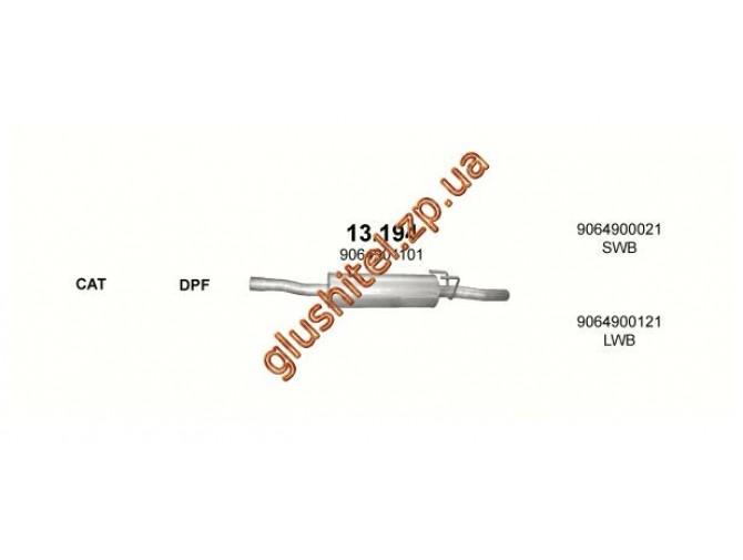 Резонатор Мерседес Спринтер (Mercedes Sprinter) 2.2 CDi TD 00-06 (13.194) Polmostrow алюминизированный