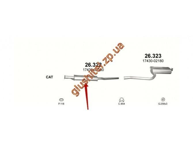 Резонатор Тойота Авенсис 1.6 (Toyota Avensis 1.6) (26.322) 97-00 Polmostrow алюминизированный