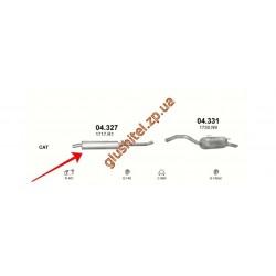 Резонатор (средняя часть глушителя) Ситроен С8 (Citroen C8) 2.0 HDi 02-07, Фиат Улиси II (Fiat Ulysse II) 2.0 JTD 02-06,Лянча Федра (Lancia Pedra) 2.0 JTD 02-06, Пежо 807 (Peugeot 807) 2.0 HDi 02-06 (04.327) Polmostrow алюминизированный