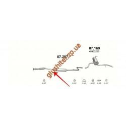 Резонатор (средняя часть глушителя) Фиат Албеа (Fiat Albea) 1.4 16V (07.287) Polmostrow алюминизированный