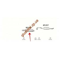 Резонатор (средняя часть глушителя) Фиат Дукато (Fiat Ducato) Camper 2.5 Diesel, 1.9 Turbo Diesel (07.516) Polmostrow алюминизированный