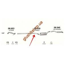 Резонатор (средняя часть глушителя) Форд Фокус (Ford Focus) 1.6 TDCi , 1.8 TDCi 04- , Мазда 3 (Mazda 3) 1.6 CiTD 03-05, Вольво С40 (Volvo S40) 1.6 TD Turbo - 16V Diesel, V50 1.6 TD Turbo - 16V Diesel 04- (08.539) Polmostrow алюминизированный