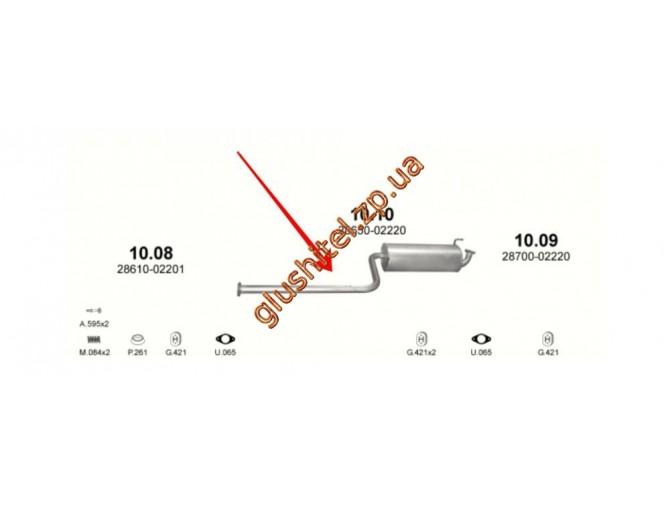 Резонатор Хюндай Атос (Hyundai Atos) 1.0 / 1.1i 12V 97-08 (10.10) Polmostrow алюминизированный