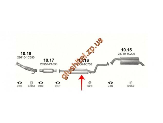 Резонатор (средняя часть глушителя) Хюндай  Гетс (Hyundai Getz) 1.5 CRDi Turbo 16V Diesel 08/05-02/09 (10.16) Polmostrow алюминизированный