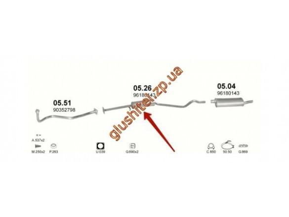 Резонатор ДЭУ Нексия (Daewoo Nexia) (05.26) длинный (для авто без катализатора) Polmostrow