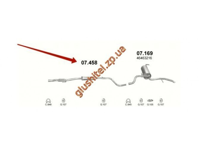 Резонатор Фиат Албеа (Fiat Albea) 1.2 (07.458) Polmostrow алюминизированный