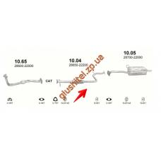 Резонатор Хюндай Акцент, Ексель (Hyundai Accent , Excel) 1.5i 94-99 (10.04) Polmostrow алюминизированный