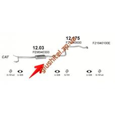 Резонатор Мазда 626 (Mazda 626) 90-97 kat (12.03) Polmostrow алюминизированный