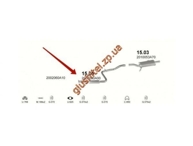 Резонатор Ниссан Санни (Nissan Sunny) 86-90 1.6 (15.05) Polmostrow алюминизированный